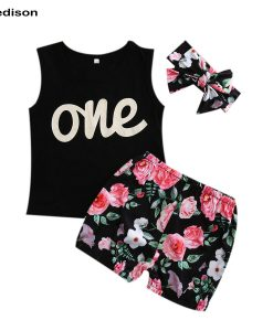 New One Year Birthday Girl Set Summer 2018 Toddler Girl Top Sleeveless Shorts Baby Girl Clothing Sets Infant 3pcs Suit