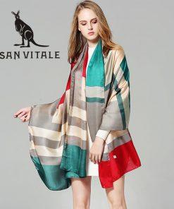Scarves Women'S Silk Scarf Spring Shawl Crinkle Long Chiffon Skinny Plaid Twill For Dress Scarfs High Quality Designer Casual