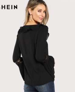 SHEIN Black Ruffle Neck Lace Insert Pleated Casual Top Women V Neck Flare Sleeve Plain Blouse 2018 Spring Elegant Blouse 1