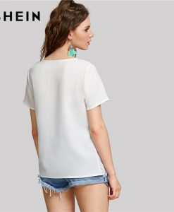 SHEIN Scalloped Laser Cut Out Top White Round Neck Short Sleeve Women Plain Blouse 2018 Summer New Weekend Casual Blouse 1