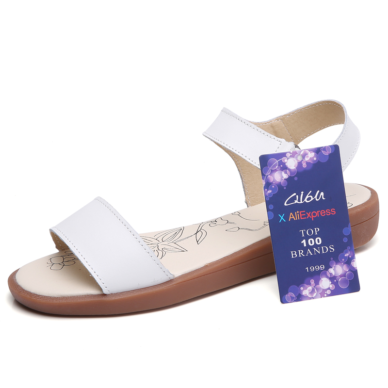 O16U 2018 Women Basic Sandals Summer Shoes genuine leather flat sandals ankle strap flat sandals ladies white gladiator sandals 1