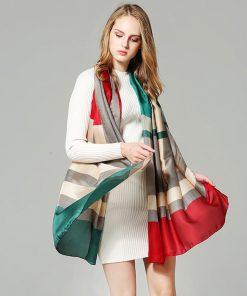 Scarves Women'S Silk Scarf Spring Shawl Crinkle Long Chiffon Skinny Plaid Twill For Dress Scarfs High Quality Designer Casual 1