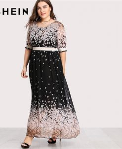SHEIN Flower Print Plus Size Chiffon Dress Women Scoop Neck Half Sleeve High Waist Maxi Dress 2018 Summer Casual Big Size Dress 1