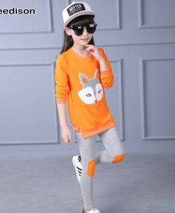 Yeedison Girls Clothing Set Spring Autumn Long Sleeve Cartoon Fox Printing T-shirt + Pants Cotton Kids Clothes 2pcs Set