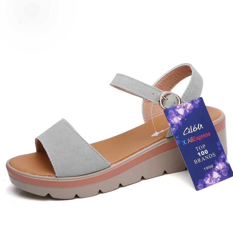 O16U 2018 Women Sandals Shoes Summer Suede Leather Thick Heel Wedge Platform Sandals Ladies Ankle Strap Retro Flat Sandals Women 1