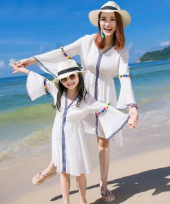 Mother Daughter Dress 2018 Summer Style Family Matching Outfits Family Clothing mommy and me clothes Family look matching dress 1