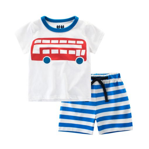 Yeedison 2018 Summer Kids Boys Clothes Set Casual Children Clothing Boys Set Cartoon Prints T-shirts Shorts Cotton Kids Outfits 1