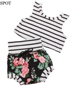 COSPOT Baby Girls Summer Clothing Set T Shirt+Shorts Newborn Girl 2Pcs Set Striped T-shirt Floral Shorts Girl's  Floral Suit 42C 1