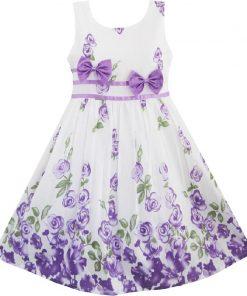 Sunny Fashion Girls Dress Purple Rose Flower Double Bow Tie Party Kids Sundress 2018 Summer Princess Wedding Dresses Size 4-12