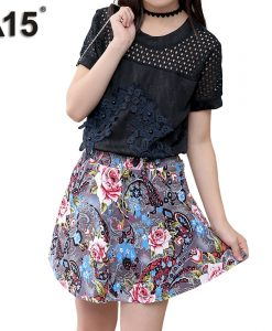 A15 Kids Clothes Teenagers T Shirt + Floral Skirt Two Piece Suit 2018 Toddler Girls Clothing Sets Summer Outfit 4 6 8 10 12 Year 1