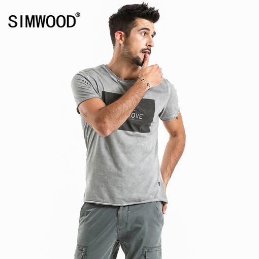 SIMWOOD 2018 Brand Fashion Casual Men T shirt Summer Short Sleeve O-neck Letter Print Slim T shirt Mens Tops Tee TD017112 5