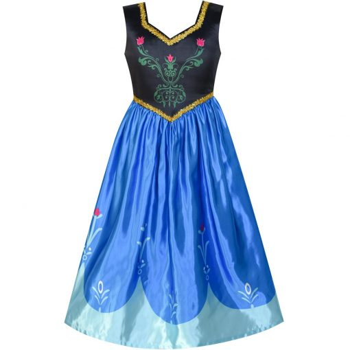 Princess Dress Anna Costume Dress Up Cosplay Cloak Snowflake 2018 Summer Wedding Party Dresses Kids Clothes Size 5-12 Pageant 3