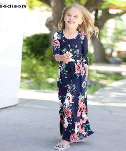 2018 Girls Dresses Spring Autumn Cute Baby Girls Hit Color Long Dress Children Clothes Casual Cotton Beachwear Maxi Dress 2T-10