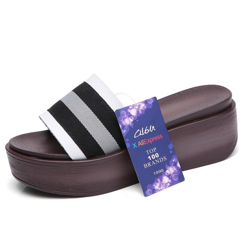 O16U Women Thick Sole Slippers Striped Slides Shoes Women Black Beach Flat Platform Sandals Flip Flops Female Footwears Summer 1