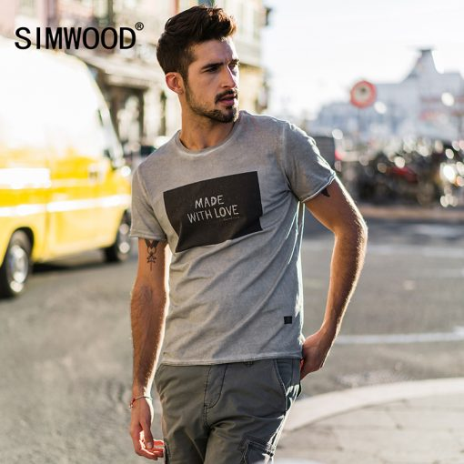 SIMWOOD 2018 Brand Fashion Casual Men T shirt Summer Short Sleeve O-neck Letter Print Slim T shirt Mens Tops Tee TD017112 1