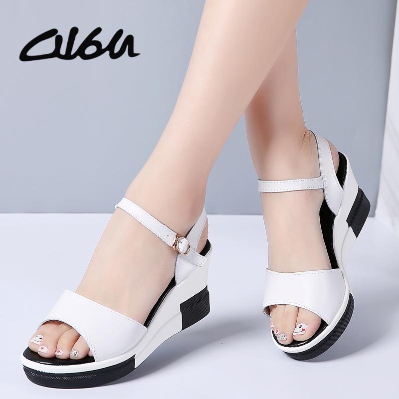 O16U 2018 Summer Women Flat Sandals shoes women Wedges Platform Sandalias Buckle Leather High Heels Casual Strap Sandals Ladies