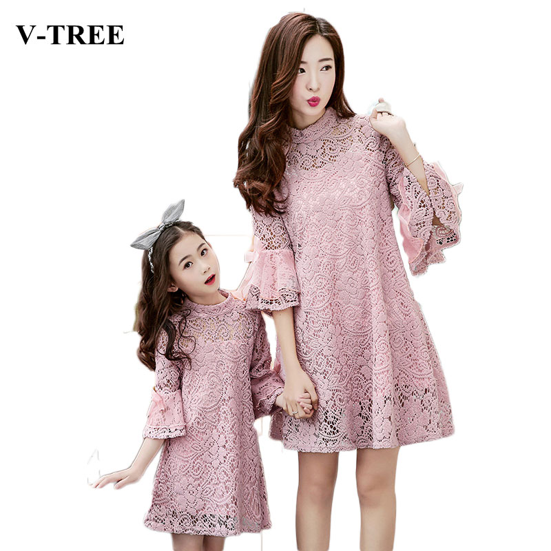 V-TREE Lace mother daughter dresses horn sleeve matching mother daughter dress clothes fashion family look outfits