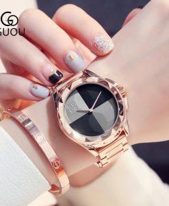 GUOU Watches Women Top Luxury Ladies Watch Blush Paragraph Tide Quartz Watch Fashion Trend Stainless Steel Women Watch saat 1