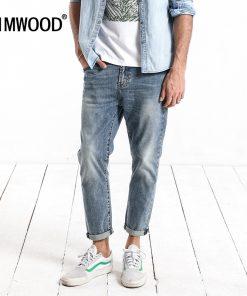 SIMWOOD 2018 Spring  Summer New Dark Wash Ankle-Length Jeans Men Slim Fit Vintage Basic Blue High Quality Brand Clothing 180057