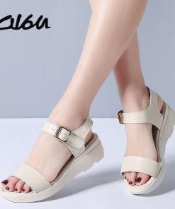 O16U 2018 Women Sandals Summer Shoes Leather Basic Casual sandals Flat Platform sandals ladies T strap Flats sandals Women Brand