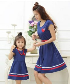 Mother Daughter Dresses 2018 Fashion Summer Mom and Daughter Dress with Belt and Necklace vestido Girl and Women Cotton Dresses  1