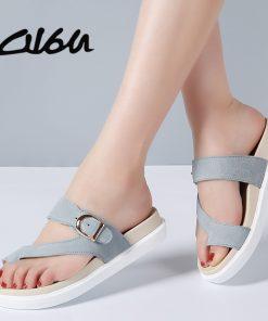 O16U 2018 Summer Women Outside Flip Flops Shoes Suede Leather Strap Low Heels Flat Slides Ladies Beach Sandals Women Slippers