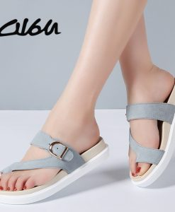 O16U 2018 Summer Women Outside Flip Flops Shoes Suede Leather Strap Low Heels Flat Slides Ladies Beach Sandals Women Slippers