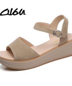 O16U 2018 Summer Women Casual Sandals Flat Platform Shoes Suede Leather Brown Black Med Heels Sandals Ladies beach Sandals Mam