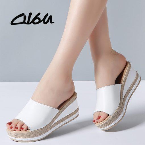 O16U Summer Slippers Women Flat Platform Sandals Shoes Beach Shoes Slip-on round toe Leather Wedges slides flip flops Ladies