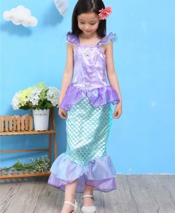 Girls Summer Outfits Mermaid Dress Halloween Princess Ariel Cosplay Costume Little Mermaid Kids Clothes Fancy Children Clothing 1
