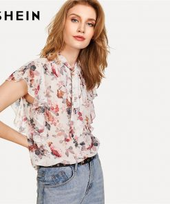 SHEIN Tie Neck Bow Ruffle Trim Floral Top Women Stand Collar Butterfly Sleeve Chiffon Blouse 2018 Summer Beach Casual Blouse