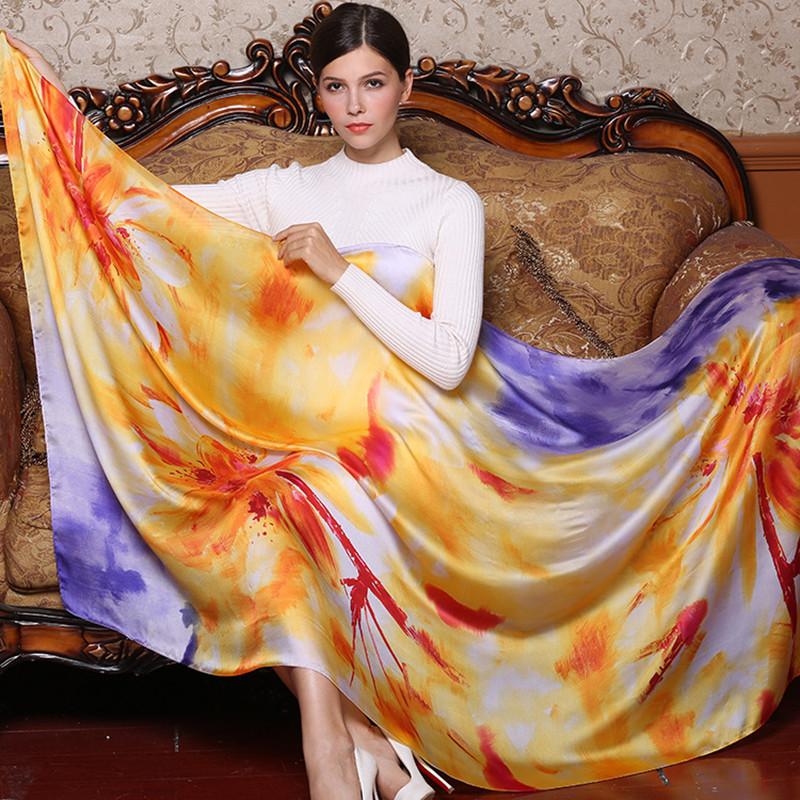 Scarves Women Silk Scarf Sunflower Poncho Headscarf Bohemian Long Crinkle Hijab Chiffon Designer Twill Fashion Cotton 2018 Dress 1