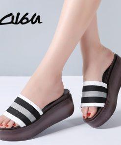 O16U Women Thick Sole Slippers Striped Slides Shoes Women Black Beach Flat Platform Sandals Flip Flops Female Footwears Summer