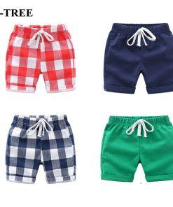 Summer Children Shorts Linen Boys Beach Shorts Kids Trousers Plaid Shorts For Boys Toddler Pants