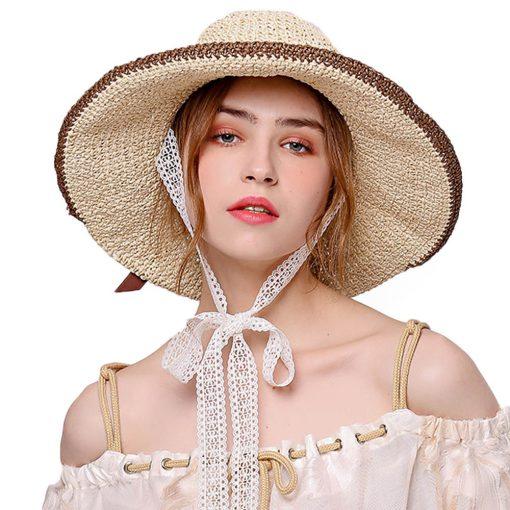 FS Large Brim Floppy Hats Women Beach Straw Hat With Elegant White Lace Ribbon 2018 New Fashion Sun UV Sombrero Mujer 2