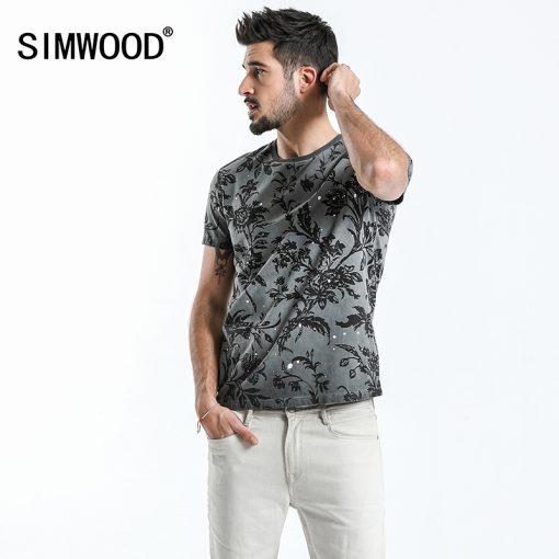 SIMWOOD 2018 Summer Fashion Printed T-Shirts Men 100% Pure Cotton Tops Tees Slim Fit High Quality Brand Clothing 180046