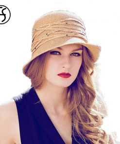 FS Summer Beach Floppy Sun Hat For Women Fashion Wide Brim Vintage Foldable Visor Straw Hats Chapeau Paille