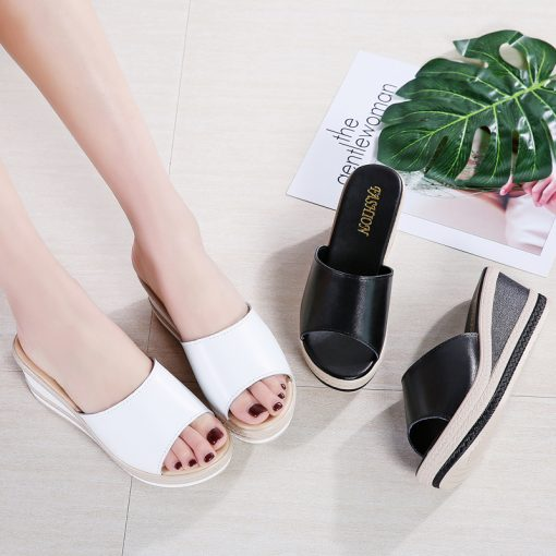 O16U Summer Slippers Women Flat Platform Sandals Shoes Beach Shoes Slip-on round toe Leather Wedges slides flip flops Ladies 4