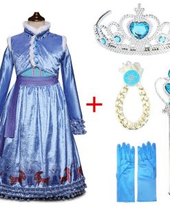 Girls Dress Elsa Dress Party Vestidos Cosplay Girl Clothing Anna Snow Queen Print Birthday Princess Dress Elza Kids Costume 1