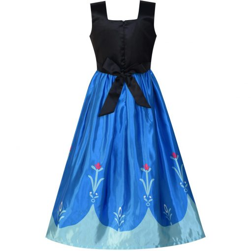 Princess Dress Anna Costume Dress Up Cosplay Cloak Snowflake 2018 Summer Wedding Party Dresses Kids Clothes Size 5-12 Pageant 4