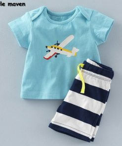 Little maven brand children clothing 2017 new summer baby boy clothes cotton plane print children's sets 20082
