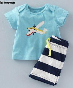 Little maven brand children clothing 2017 new summer baby boy clothes cotton plane print children's sets 20082