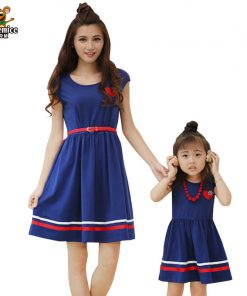 Mother Daughter Dresses 2018 Fashion Summer Mom and Daughter Dress with Belt and Necklace vestido Girl and Women Cotton Dresses