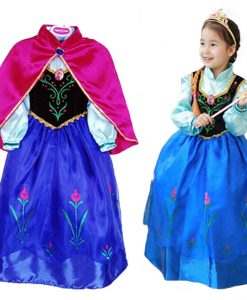 2-7Years Anna Elsa Dress Girls Snow Queen Dress Elsa Anna Costume Kids Halloween Cosplay Princess Dress Girls Summer Party Dress 1