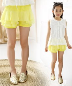 V-TREE Summer 2016 girls shorts chiffon shorts for girls candy color  girls lace shorts with skirt teenager school shorts 1