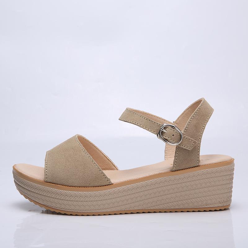 O16U 2018 Summer Women Casual Sandals Flat Platform Shoes Suede Leather Brown Black Med Heels Sandals Ladies beach Sandals Mam 1