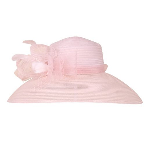 FS Women 100% Organza Hat Large Brim Bowknot Decoration Flowers 2017 Elegant Ladies Wedding Dress Derby Floppy Hats 1