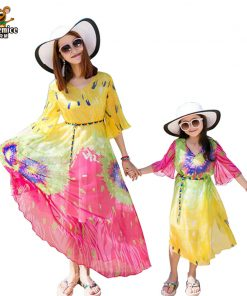 Family Matching Outfits 2018 Summer Style Mother Daughter Dresses Family Look Bohemian Dress Family Clothing matching dress