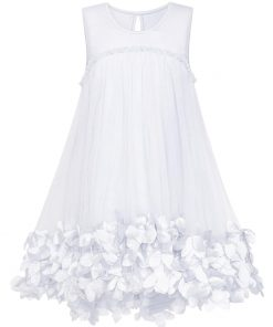 Sunny Fashion Flower Girl Dress A-line Cute Handbag White Princess Sundress Cotton 2018 Summer Wedding Party Dresses Size 5-10
