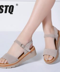STQ 2018 Women sandals summer suede leather high thick heel wedge sandals Platform sandals ladies ankle strap flat sandals 848